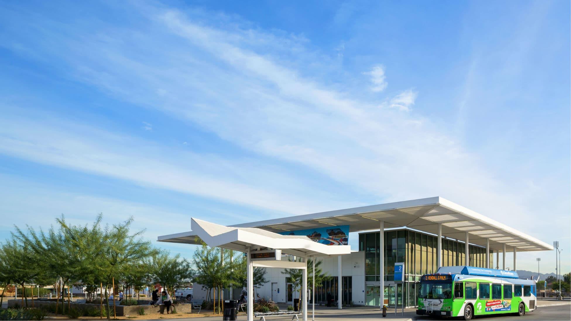 image of san bernardino transit center with bus
