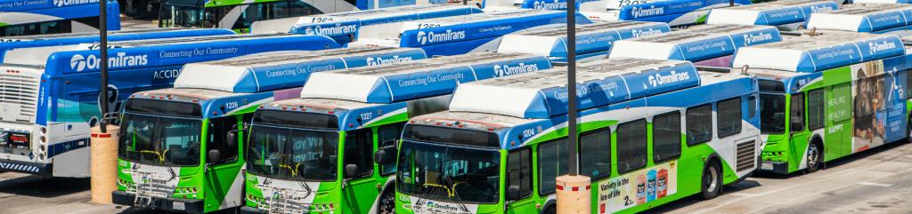 Omnitrans fleet in bus yard