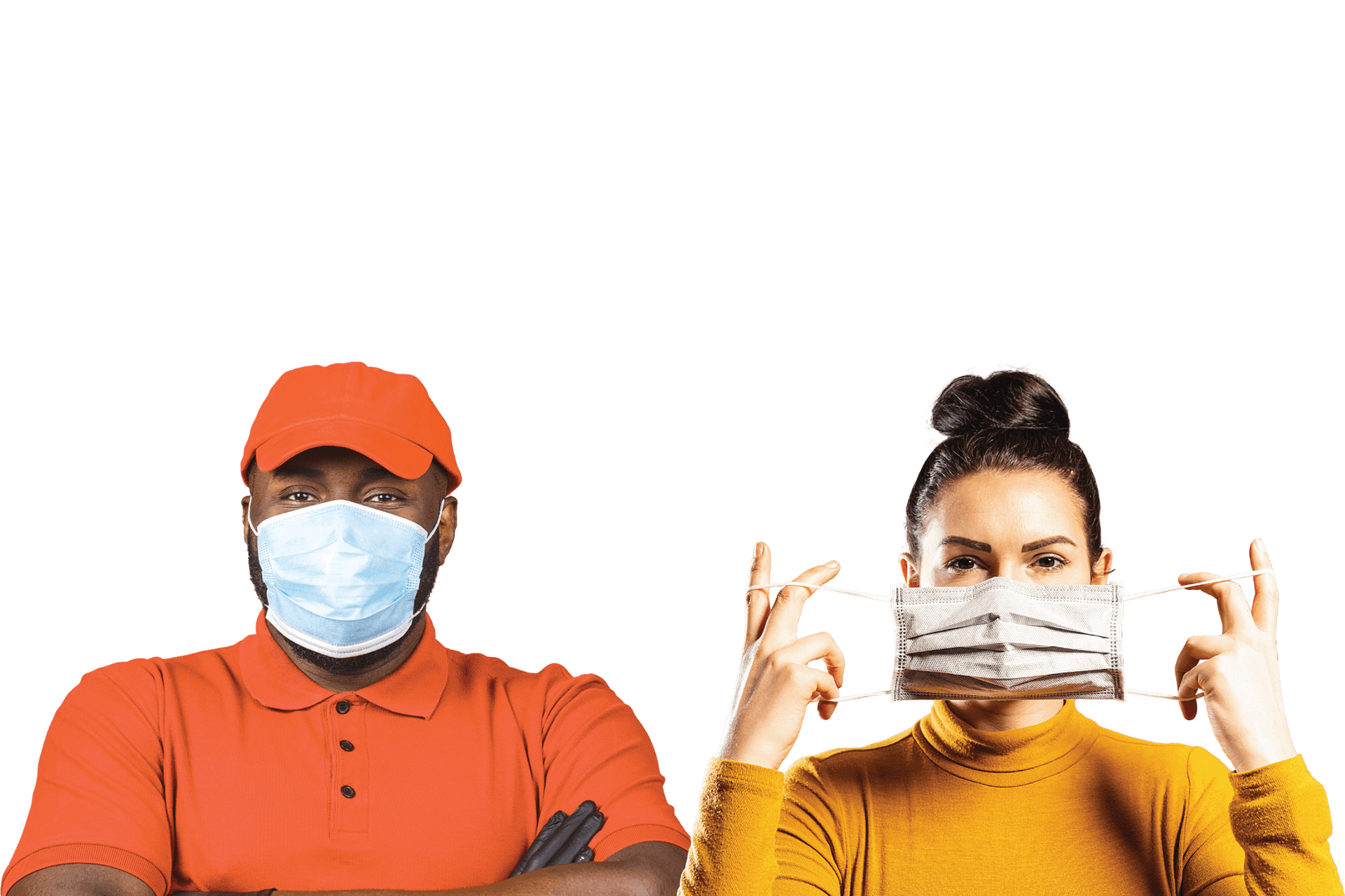 Image of two people wearing masks and bright shirts