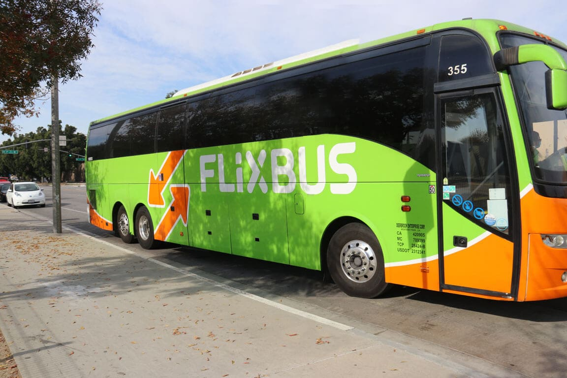 FlixBus vehicle at San Bernardino Transit Center