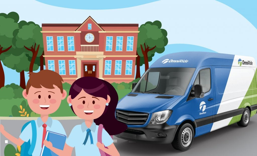 students using OmniRide to get to school