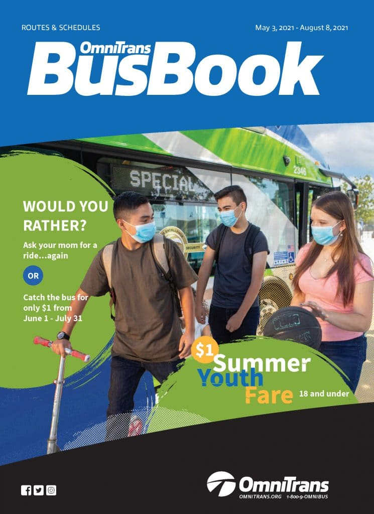 Omnitrans bus book cover featuring teens and bus