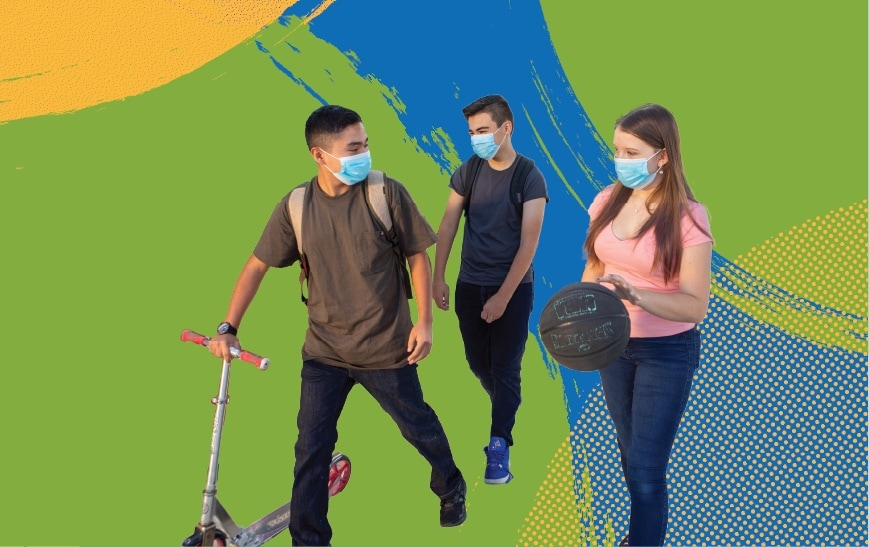students walking with scooter