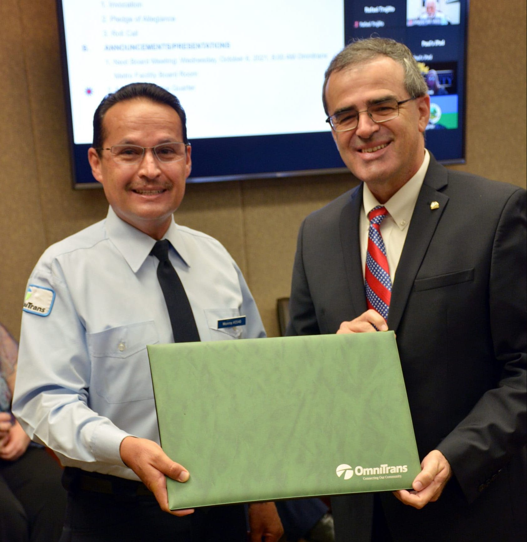 Employee of the Quarter presentation in the Board Room